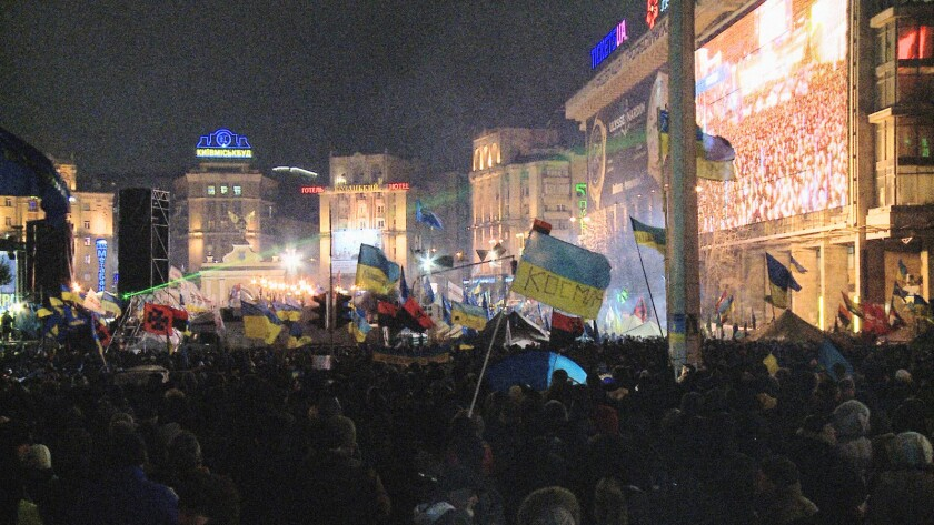 "Scene from the Ukrainian movie ""Maidan,"" directed by Sergei Loznitsa."