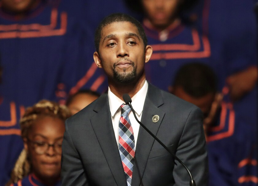 FILE - In this Oct. 23, 2019, file photo, Baltimore Council President Brandon Scott speaks during a viewing service for the late U.S. Rep. Elijah Cummings at Morgan State University in Baltimore. Scott has won the Democratic nomination for Baltimore mayor. The victory on Tuesday, June 9, 2020, exactly a week after the election was held, puts Scott in a strong position to be the next mayor of the struggling city. (AP Photo/Julio Cortez, File)
