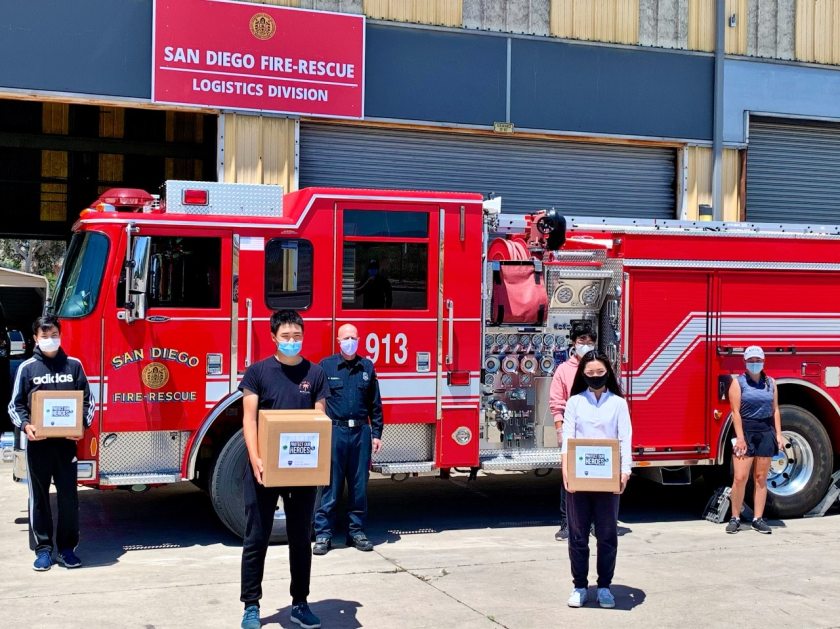 YGA donated 300 face shields to the City of San Diego. (L-R): Kenny Zhang, Spencer Zhang, Philip Christy (on behalf of San Diego Fire Department), Laura Zhou, Johnavon Kim, Sofina Firouzi.