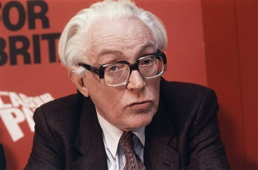 FILE - This is a March 1983 file photo of British politician Michael Foot. Foot, a bookish intellectual and anti-nuclear campaigner who led Britain's Labour Party to a disastrous defeat in 1983, died Wednesday March 3, 2010 officials said. He was 96. (AP Photo/John Redman)