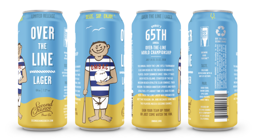 Over-The-Line Lager is available at the OTL Championship, Second Chance tasting rooms and select bars in San Diego County.