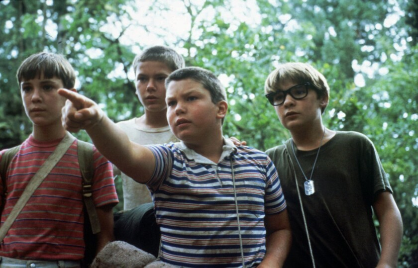 "Wil Wheaton, left, River Phoenix, Jerry O'Connell and Corey Feldman in ""Stand By Me"" (1986)"