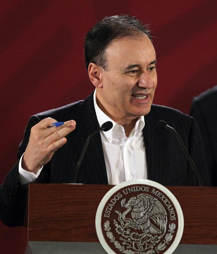 El secretario mexicano de Seguridad Pública, Alfonso Durazo, participa en una rueda de prensa en el Salón Tesorería en el Palacio Nacional en Ciudad de México (México). EFE/Archivo