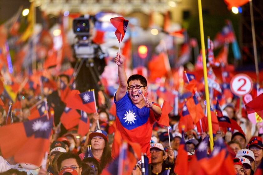 Supporters of presidential candidate Han Kuo-yu at a rally in Taipei.