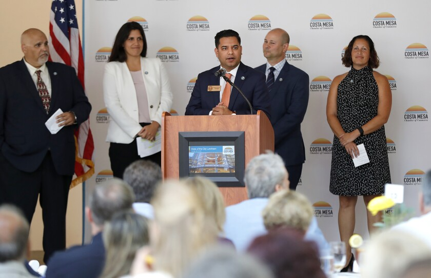 """Councilman Manuel Chavez Thursday at an annual """"State of the City"""" at the Renee and Henry Segerstrom Concert Hall Thursday."""