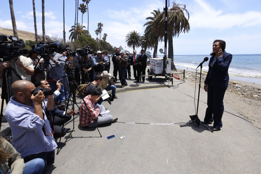 State Atty. Gen. and U.S. Senate candidate Kamala Harris addresses the news media at Refugio State Beach in June 2015 after the Santa Barbara County oil spill.