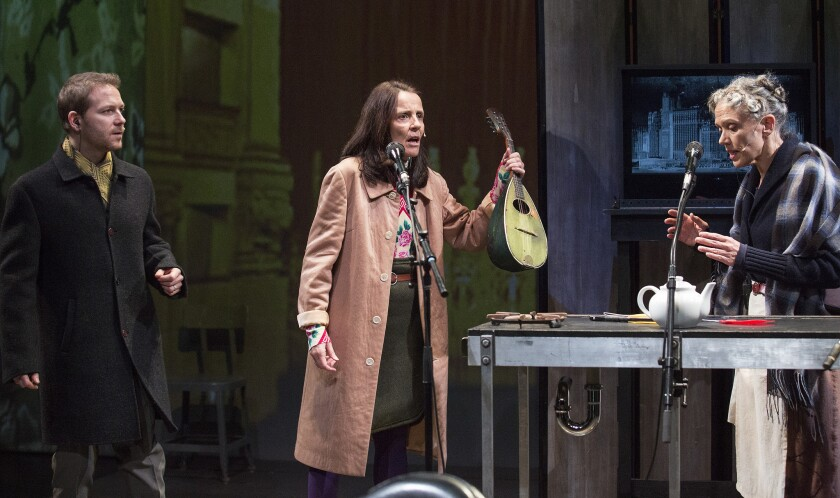 """Ari Fliakos, Suzzy Roche, center, and Kate Valk perform in the Wooster Group's """"The Room"""" at REDCAT."""