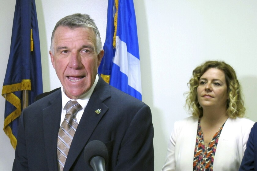 Vermont Gov. Phil Scott speaks at a news conference on Thursday, Sept. 26, 2019, in Essex Junction, Vt., where he said he supported an impeachment inquiry into the actions of President Donald Trump. Scott is the first Republican governor to publicly come out in favor of the impeachment inquiry, but says he wants to know the facts before any further actions are taken. (AP Photo/Wilson Ring)