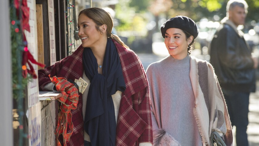 """Jennifer Lopez, left, and Vanessa Hudgens in the movie """"Second Act."""""""