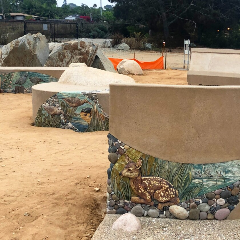 Mosaic work underway at the new Harbaugh Seaside Trails.