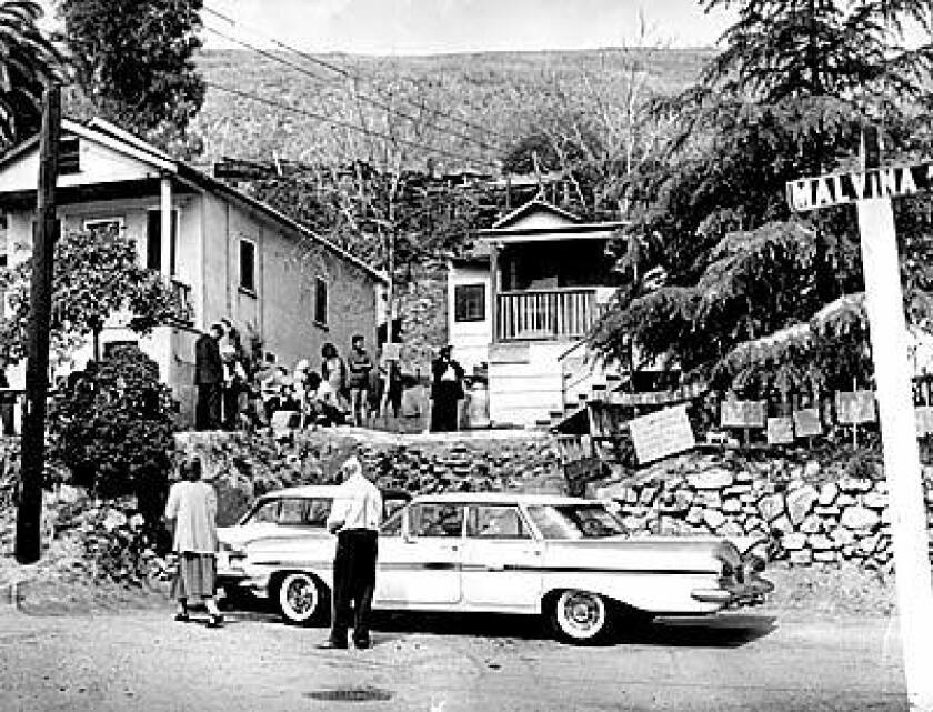 Residents of Chavez Ravine, on the site of what is now Dodger Stadium, await the next move in an eviction battle in 1959.
