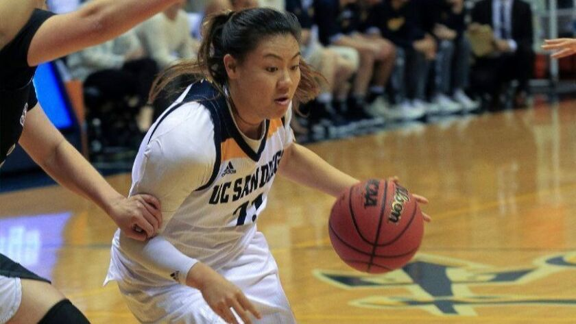 UCSD's Kayla Sato, pictured earlier this week against San Francisco State, led the Tritons with 27 points Friday.