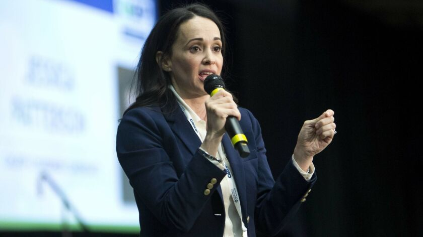 Jessica Patterson, speaks to delegates during the California Republican Party convention in Sacramento, Calif. on Feb. 23.