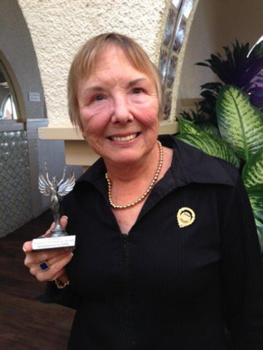 La Jolla Soroptimist Carol Tuggey and the 'Angels of Trafficking Award,' presented to the membership. Courtesy