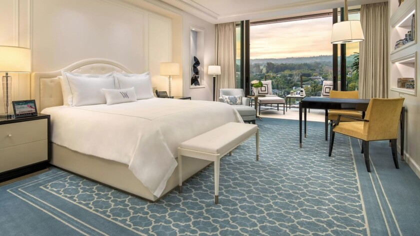 The Waldorf Astoria Beverly Hills at Wilshire and Santa Monica boulevards is 12 stories high and has