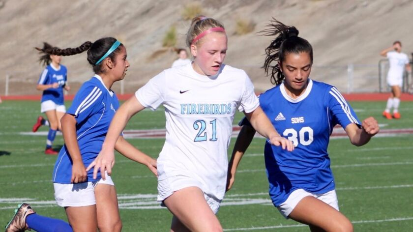 Junior Sierra Enge (21) played forward for Pacific Ridge before injuring her knee.
