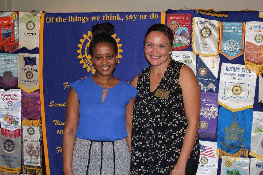 Dr. Wone Banda with Rancho Santa Fe Rotarian Rita Abatti.