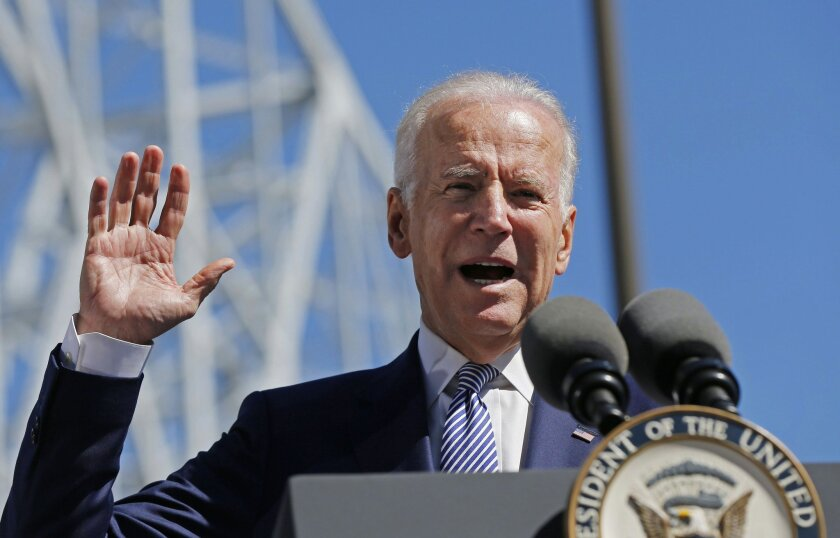 FILE - In this Feb. 17, 2016, file photo, Vice President Joe Biden speaks after touring the Port of New Orleans to commemorate the seventh anniversary of the American Recovery and Reinvestment Act in New Orleans. Biden, in a radio interview airing Thursday, Feb. 18, that President Obama is looking