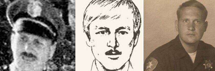 Un identikit del 'Night Stalker' (Acosador Nocturno), flanqueado por fotos del sospechoso Joseph James DeAngelo Jr. cuando era oficial de policía en Auburn (izquierda) y en Exeter, California (Departamento del Sheriff del Condado de Santa Bárbara).