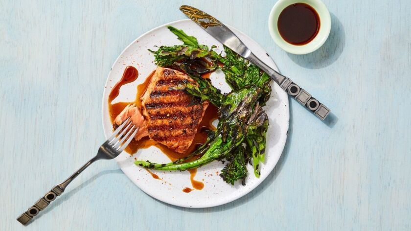 LOS ANGELES - MAY 9, 2019: Grilled Salmon Teriyaki cooked & styled by Genevieve Ko and propped by N