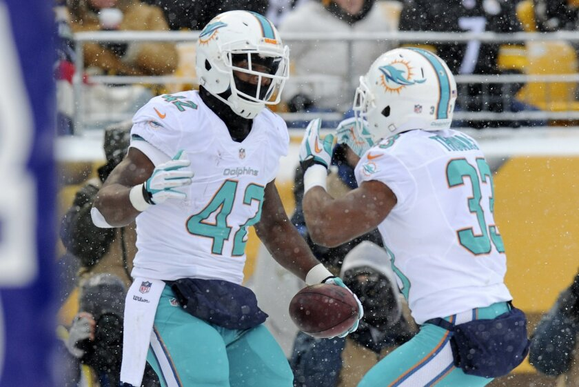 Miami Dolphins tight end Charles Clay (42) celebrates with Miami Dolphins running back Daniel Thomas (33) after a touchdown during the first half of an NFL football game against the Pittsburgh Steelers in Pittsburgh, Sunday, Dec. 8, 2013. (AP Photo/Don Wright)