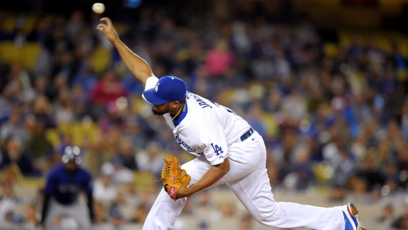 Dodgers relief pitcher Kenley Jansen made his debut on May 15 after having foot surgery in February.