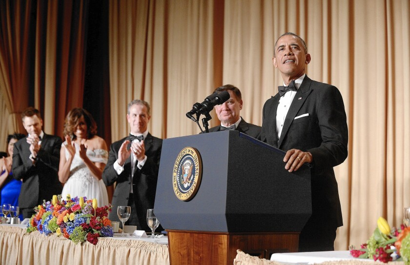 President Obama speaks at the 2014 White House Correspondents' Assn. dinner. As the event has grown in prominence, the president's annual appearance has become a high-stakes address.