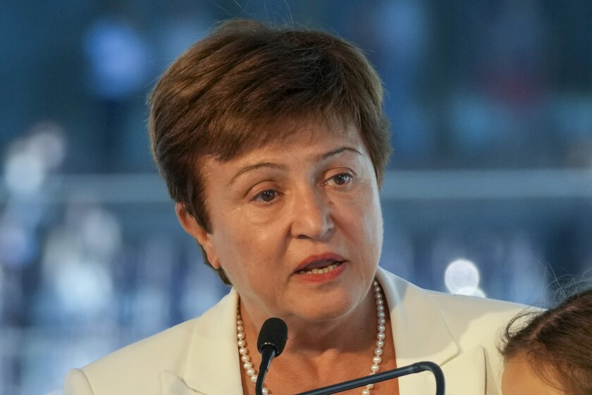 FIEL - In this Sept. 6, 2021, file photo, Kristalina Georgieva, managing director of the International Monetary Fund, delivers a speech during the opening ceremony for the Floating Office where a high-level dialogue on climate adaptation takes place in Rotterdam, Netherlands. The World Bank is canceling a prominent report on business conditions around the world after investigators found staff members were pressured by the bank's leaders to alter data about China and some other governments. Georgieva said she disagreed with the findings. (AP Photo/Peter Dejong, File)