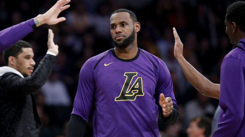 LOS ANGELES, CALIF. -- FRIDAY, MARCH 22, 2019: Los Angeles Lakers forward LeBron James (23) during a