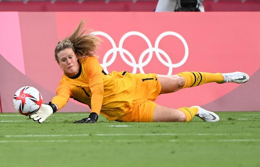 USA goalie Alyssa Naeher makes a save against Sweden.