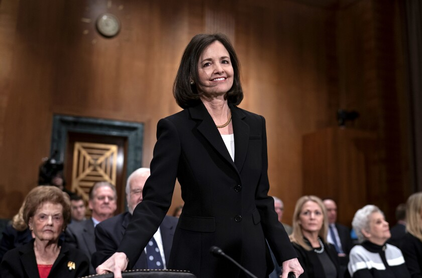 Judy Shelton appears before the Senate Banking Committee on Feb. 13.
