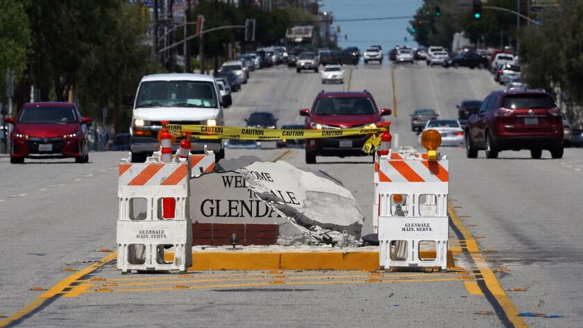 "The ""Welcome to Glendale"" sign on Foothill Blvd. at Pennsylvania Ave was struck by a vehicle that fl"