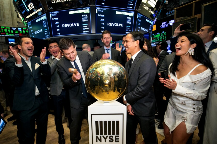 Revolve Group co-CEOs at the New York Stock Exchange