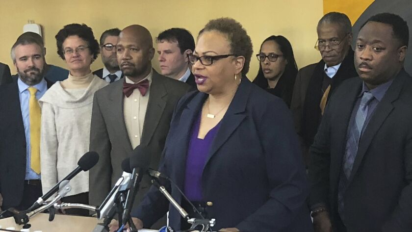 Dana Vickers Shelley, executive director of the American Civil Liberties Union of Maryland, speaks d