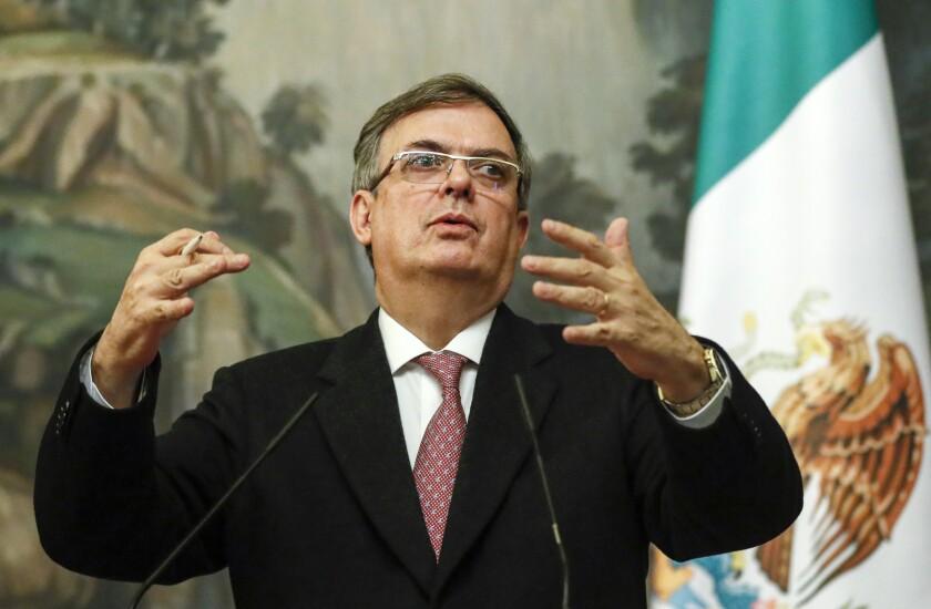 El secretario de Relaciones Exteriores de México, Marcelo Ebrard, en conferencia de prensa