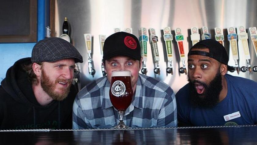 Ryan Egar, Nathan Stephens (Brewer) and Malcolm Williams of Ballast Point Brewing, Little Italy. (Liz Bowen)