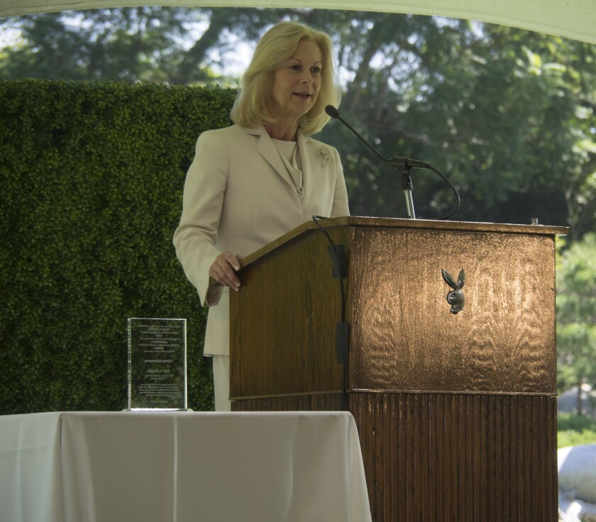 Christie Hefner speaks at the Hugh M. Hefner First Amendment Awards at the Playboy Mansion in Beverly Hills on Sept. 29, 2015.