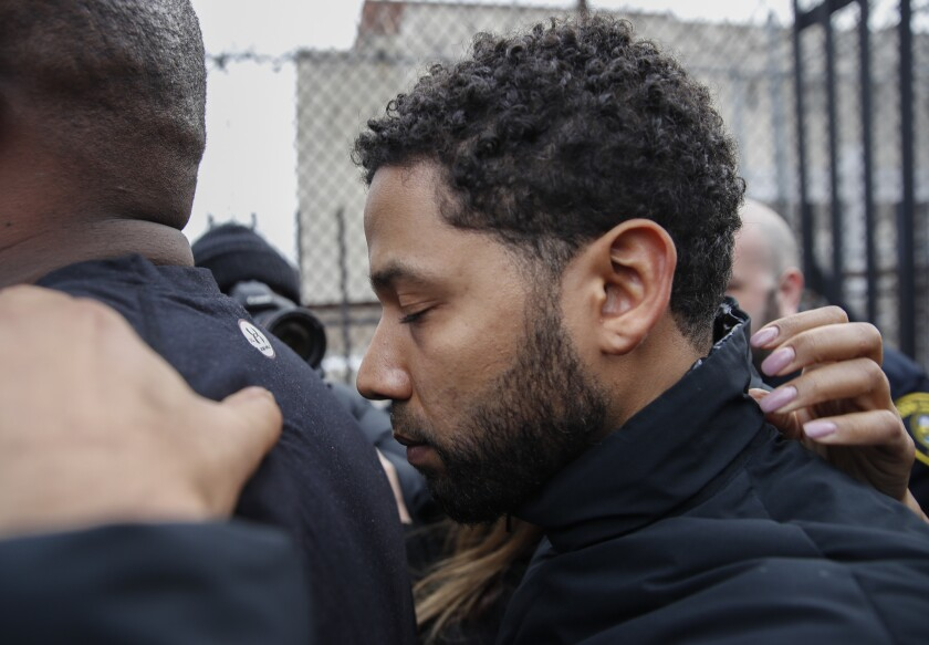 """Empire"" actor Jussie Smollett leaves Cook County jail following his release, Thursday, Feb. 21, 201"