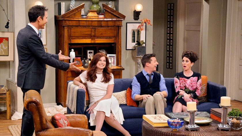 """Eric McCormack, Debra Messing, Sean Hayes and Megan Mullally in """"Will & Grace,"""" premiering Sept. 28, on NBC."""