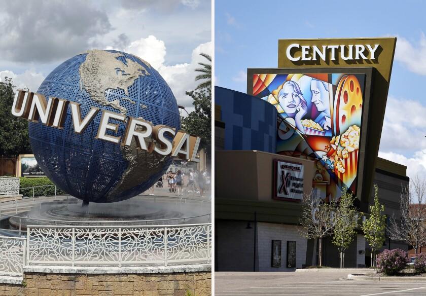 El globo de Universal Studios y el cine Cinemark Century 16 en Aurora, Colorado