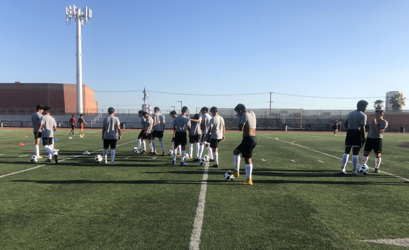 Soccer players work out at Cathedral High in downtown Los Angeles.