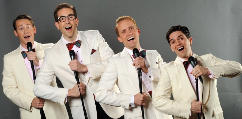 """Joshua David Cavanaugh, Joey DeBenedetto, Nick Lorenzini and Jeffery Scott Parsons (left to right) in Moonlight Stage Productions' """"Forever Plaid."""""""