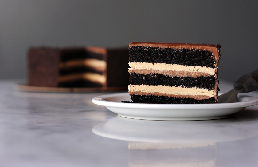 There are layers of chocolate cake, milk chocolate crémeux, espresso buttercream -- topped with bittersweet chocolate glaze -- in the chocolate espresso layer cake that Na Young Ma makes at Proof Bakery in Atwater Village.