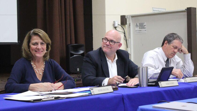 La Jolla Town Council president Ann Kerr Bache, secretary Charles Hartford vice president Joseph Pitrofsky at the March 9 meeting