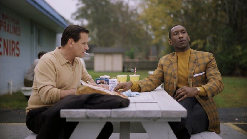 "Viggo Mortensen left, as Tony Vallelonga and Mahershala Ali as Dr. Donald Shirley in ""Green Book,"" directed by Peter Farrelly."