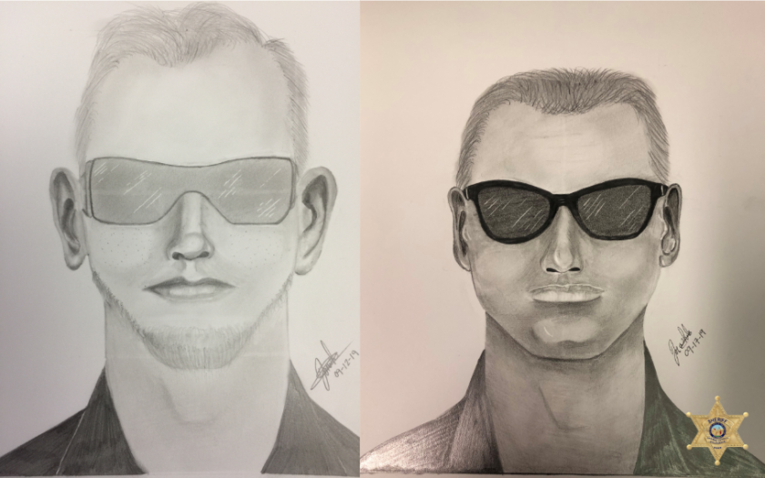 Sketches of a suspect in groping incidents in Orange County