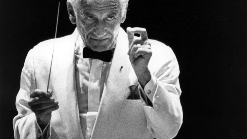 Leonard Bernstein at the Hollywood Bowl opening in 1982.