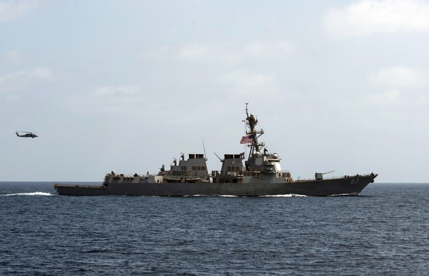 The USS Mason, conducting maneuvers in the GUlf of Oman, was the target of missiles fired by Yemen-based Houthi rebels, U.S. officials said. The ship was not hit.