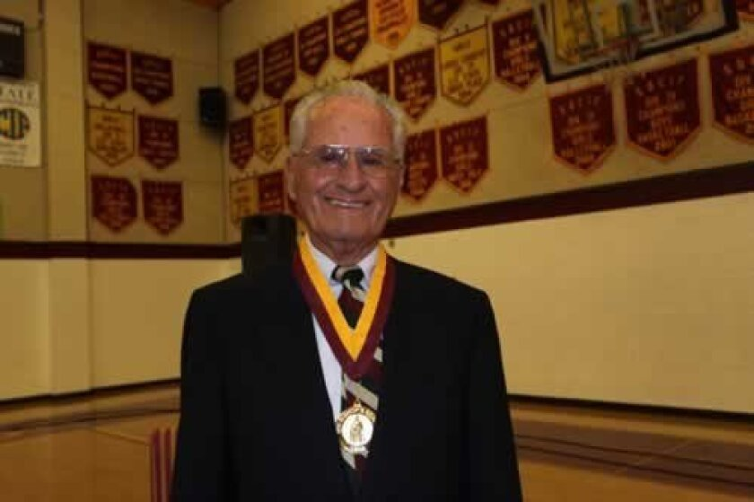 Jerry Coleman receives The Bishop's School Medal for his achievements in the military and in baseball. Ashley Mackin