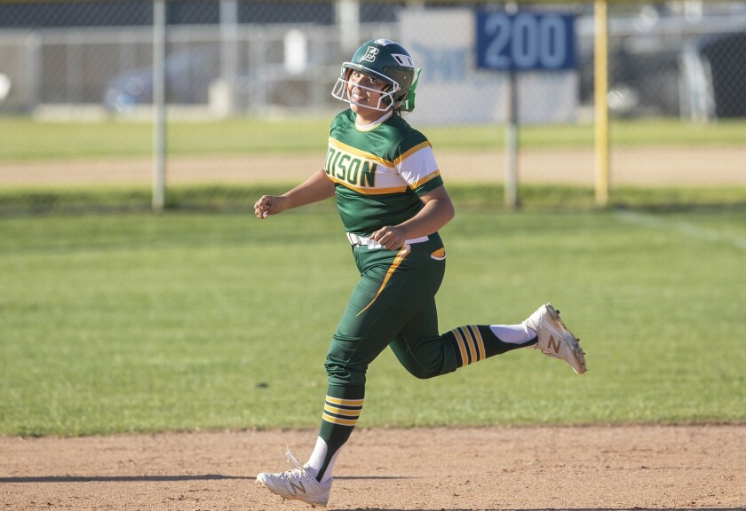 Edison's Izabella Martinez (43) rounds second after hitting a home run against Newport Harbor on March 14, 2019.
